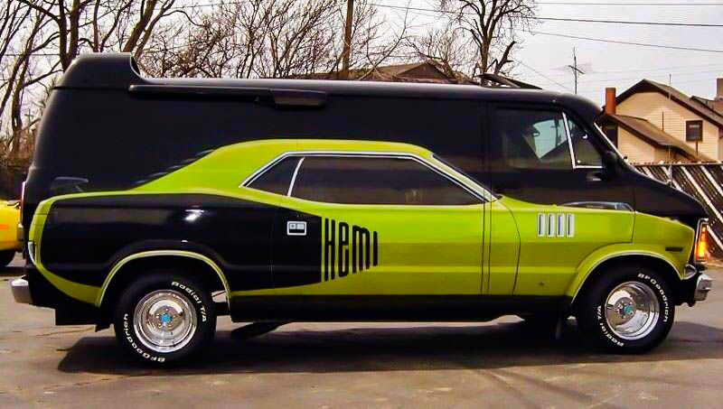 Plymouth Cuda On The Side Of A Custom Van Daily Rubber