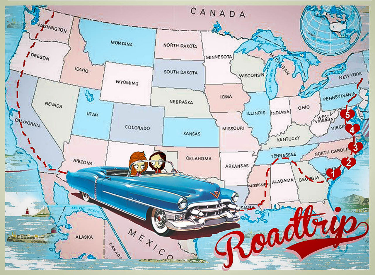 The American West Coast Road Trip Planned Los Angeles Map Map Of - Usa road map california